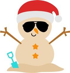 Beach Christmas Snowman print art
