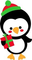 Christmas Penguin & Gift print art