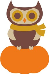 Fall Owl & Pumpkin print art