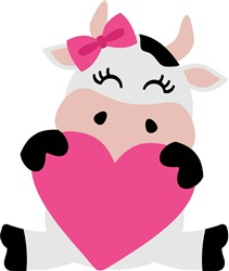 Valentine's Day Girl Cow print art