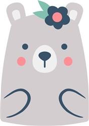 Bear & Flowers print art