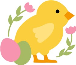 Easter Chick & Flowers print art