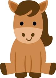 Kawaii Sitting Horse print art