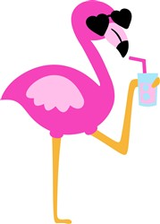 Flamingo With A Drink print art
