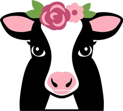 Cow & Flowers print art