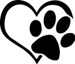 Paw Print Heart print art