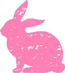 Distressed Bunny Silhouette print art