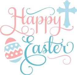 Happy Easter Cross & Egg print art