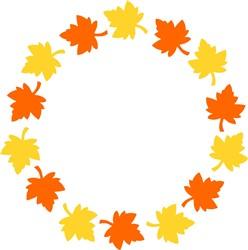 Fall Leaves Circle Frame print art