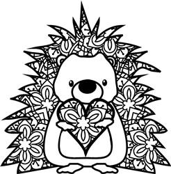 Mandala Hedgehog Heart print art