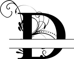 Elegant Split Letter D print art