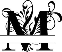 Elegant Split Letter M print art