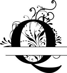 Elegant Split Letter Q print art