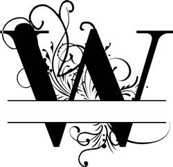 Elegant Split Letter W print art