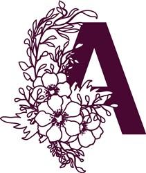 Floral Alphabet Letter A print art