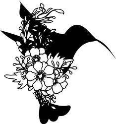 Floral Bird Silhouette print art