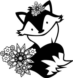 Fox & Flowers print art