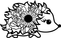 Cute Floral Hedgehog print art