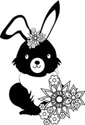 Easter Bunny & Flowers print art