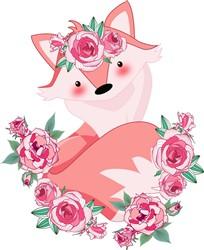 Kawaii Fox & Roses print art