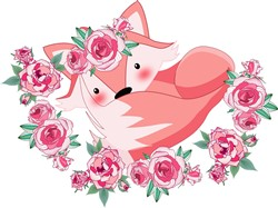 Sleeping Fox & Roses print art