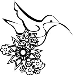 Hummingbird Outline & Flowers print art