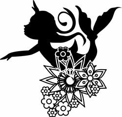 Mermaid & Floral Silhouette print art