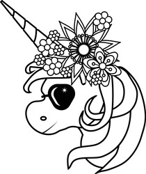 Floral Unicorn With Sunglasses print art