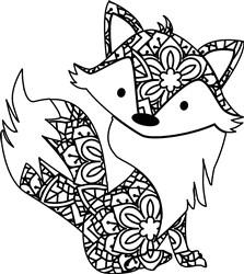 Cute Mandala Fox print art