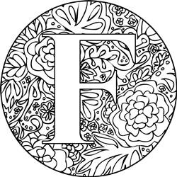 Mandala Monogram Letter F print art