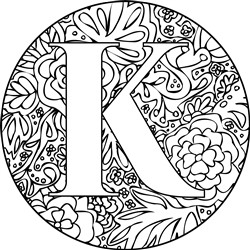 Mandala Monogram Letter K print art