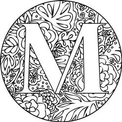 Mandala Monogram Letter M print art