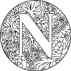 Mandala Monogram Letter N print art