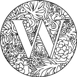Mandala Monogram Letter W print art