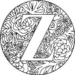 Mandala Monogram Letter Z print art