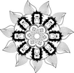 Sunflower & Hedgehog Mandala print art