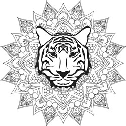 Mandala With Tiger Head print art