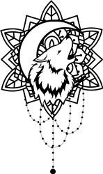 Mandala Wolf & Moon print art