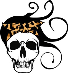 Bandana Skull & Flying Hair print art