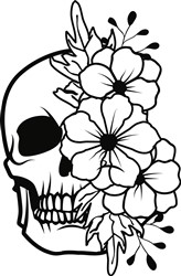 Skull With Flowers print art