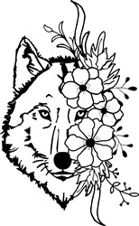 Wolf With Flowers print art