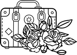 floral suitcase svg file print art
