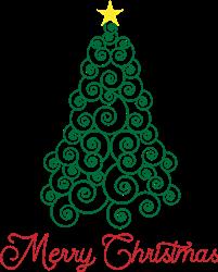 Swirl Christmas Tree print art
