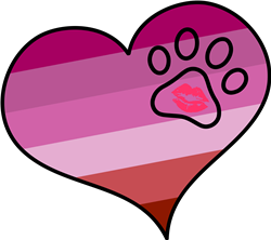Lipstick Lesbian Paw Heart print art