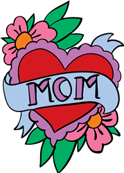 Mom Heart Flowers print art