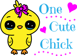 One Cute Chick With Bow print art