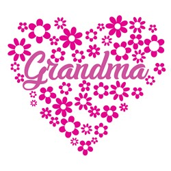 Purple Floral Grandma Heart print art