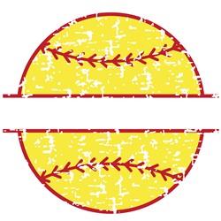 Distressed Softball Name Drop print art