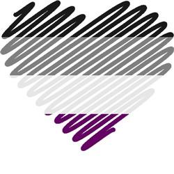 scribble heart asexual pride print art