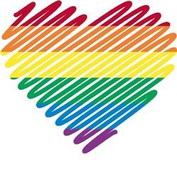 scribble heart gay pride print art